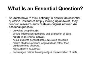 A Good Essential Question Is   Gifted Critical Thinking For