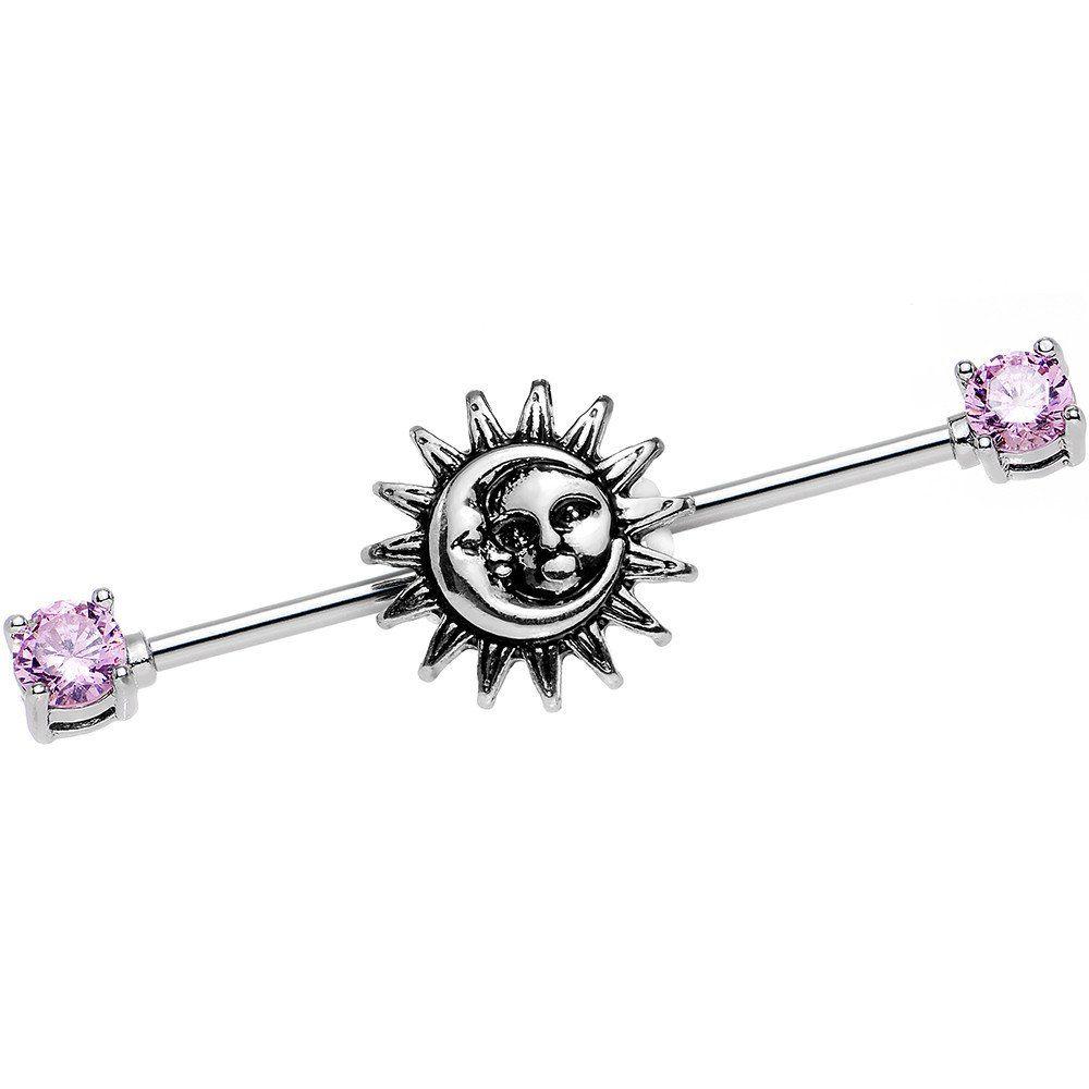 Nose piercing black girl   Gauge Pink CZ Steel Celestial Sun and Moon Industrial Barbell