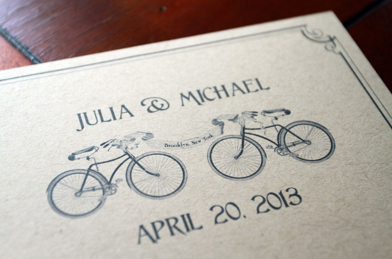 Bike Love Vintage Style Postcard Save The Date Wedding