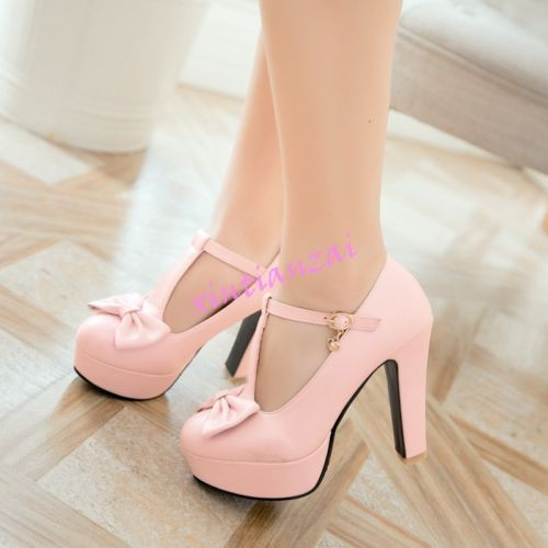 Details about  /Womens Flower Pearls Ankle Cross Strap Round Toe Lolita High Heel Prom Shoes SZ