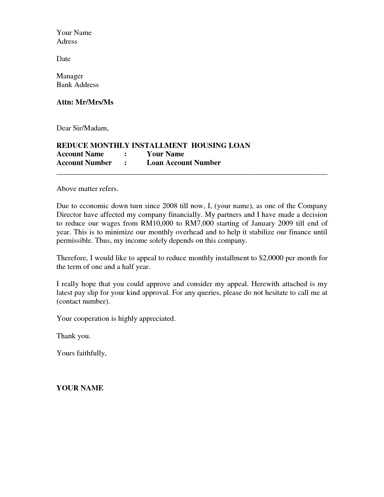 Business Appeal Letter - A letter of appeal should be written in a  professional business letter format.