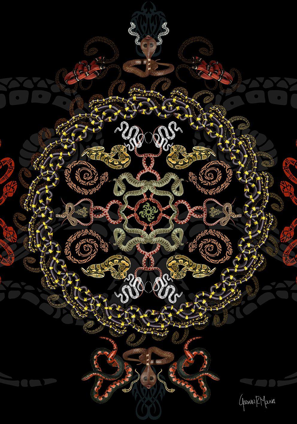 Mandala Serpiente - Arte digital German Molina - Serie Jardín ...