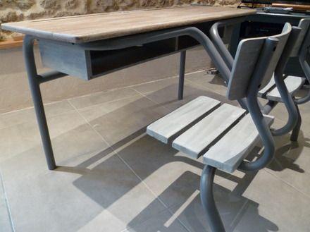 Bureau décolier ancien 2places patiné : meubles et rangements par