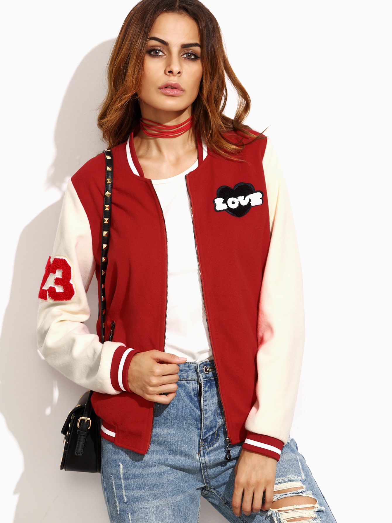 ¡Cómpralo ya!. Red Striped Trim Baseball Jacket With Patch Detail. Red  Beige Polyester Sports Casual Cute Stand Collar Short Zipper Spring Fall  Striped ... 4b85363f8e44