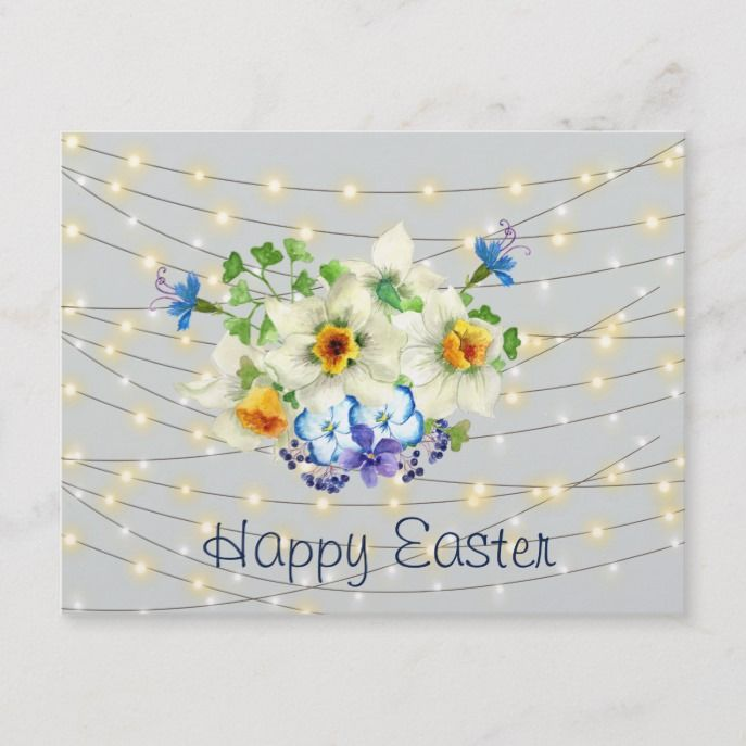 Bouquet Of Spring Flowers, Happy Easter Holiday Postcard