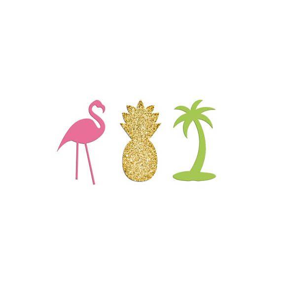 Flamingo Confetti, Palm Tree, Pineapple Confetti Pieces, Gold - confeti