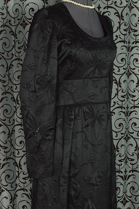 floor length vintage black dress
