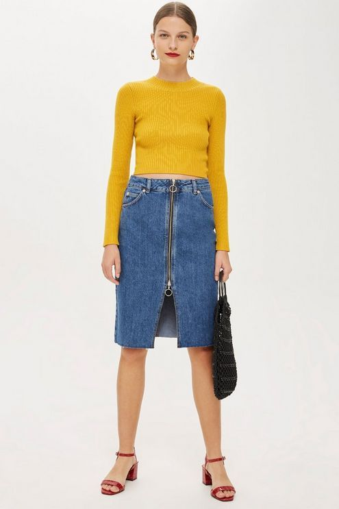 b4089f89b3 Zip Through Denim Midi Skirt in 2019 | Products | Denim skirt, Denim ...