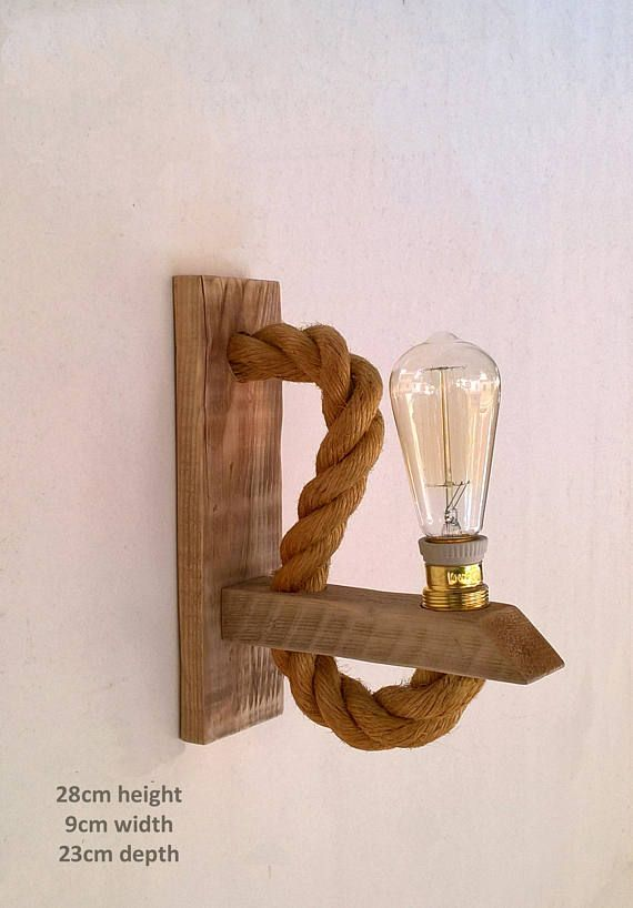 Reclaimed wood sconce with rope, Rope wall lamp lighting #pendantlighting