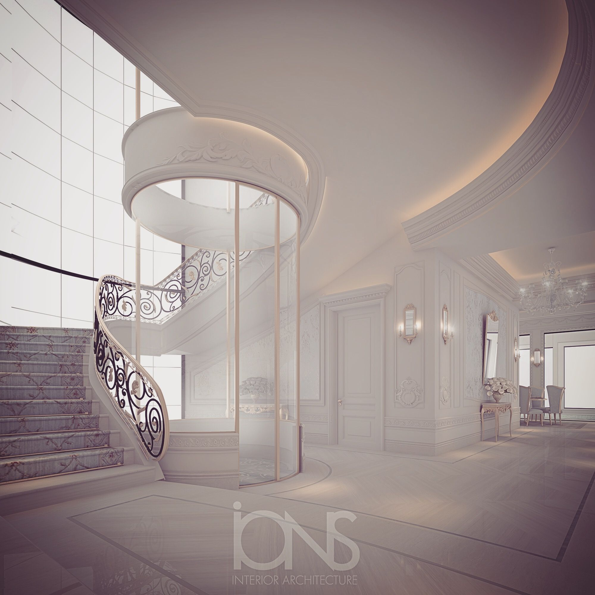 Stunning Staircase And Elevator Design Ideas: Staircase With Panoramic Lift - By IONS DESIGN