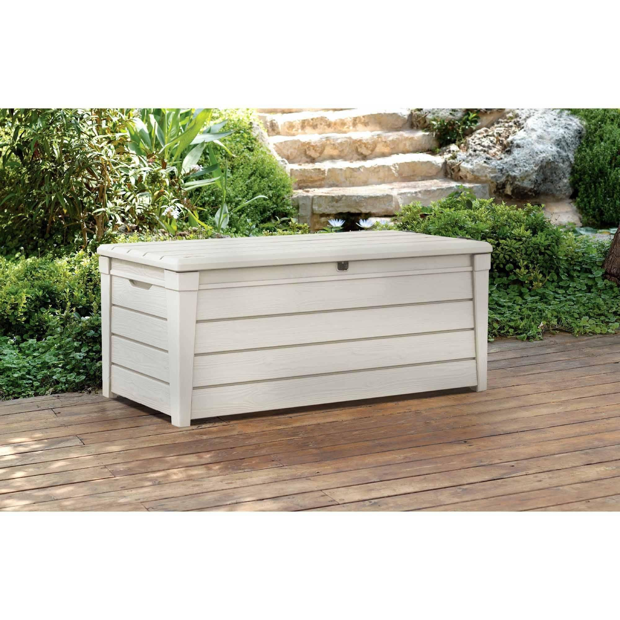 Keter Brightwood Outdoor Plastic Deck Storage Container Box 120 Gal