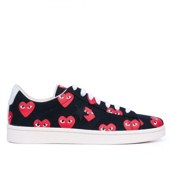 play converse pro leather low (black / red)