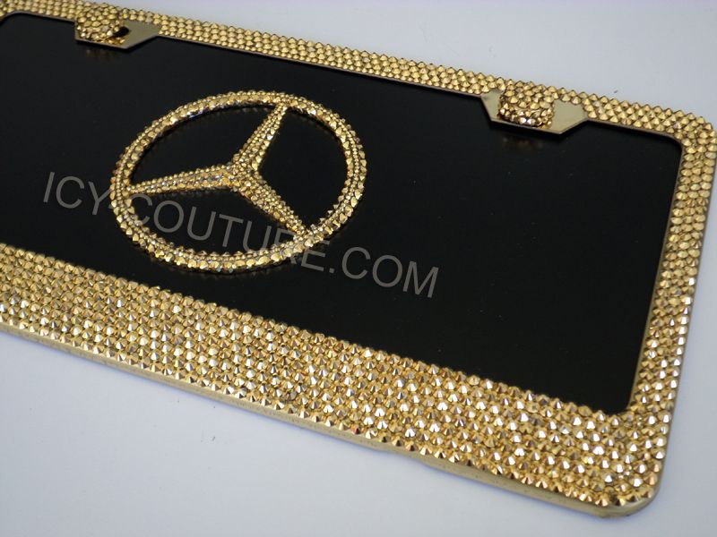 Icy Couture 3d Mercedes License Plate With Frame 24k Gold Or Rose Gold Swarovski Crystals Gold Swarovski Swarovski Crystals Swarovski