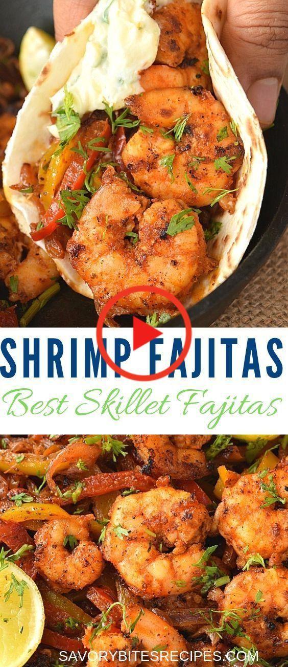 Spicy Skillet Shrimp Fajitas! #mexicandishes Shrimp Fajitas - Spicy Skillet Shrimp Fajitas! sehr