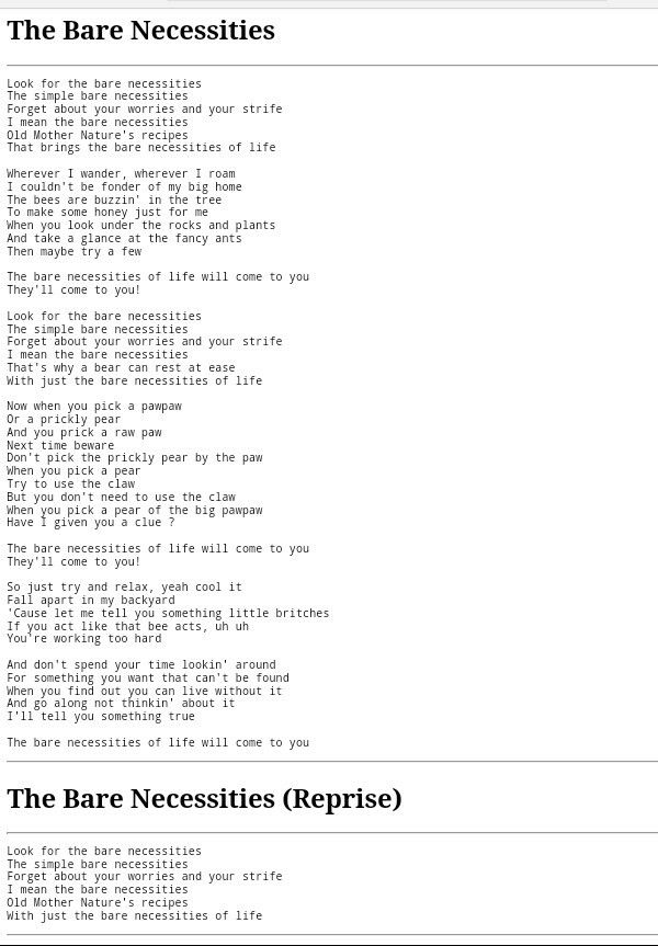 Drew K. - The Bare Necessities Lyrics | MetroLyrics