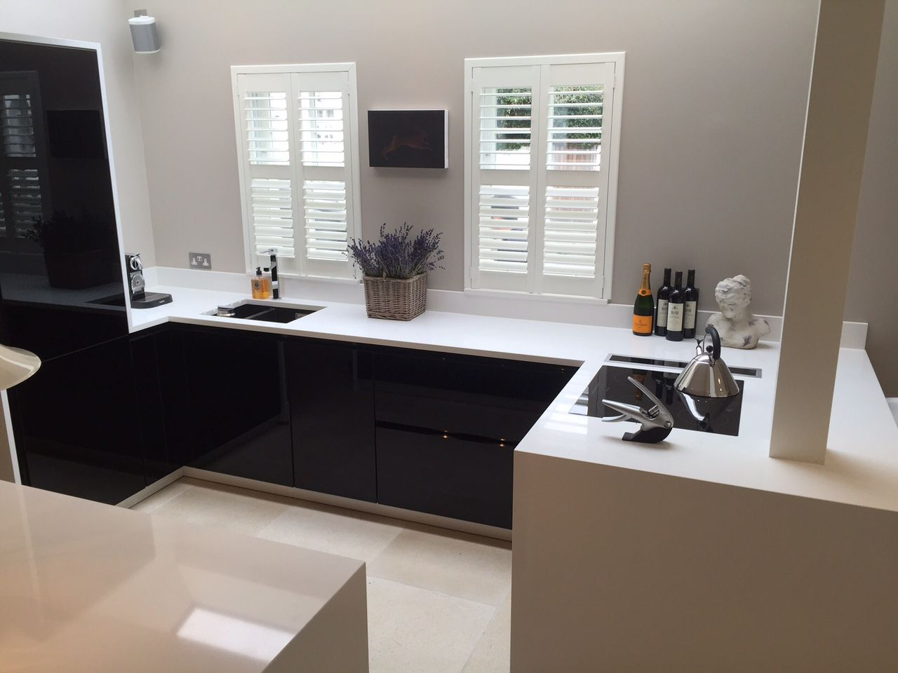 Pure White Quartz Kitchen Worktops With End Panel By The Marble