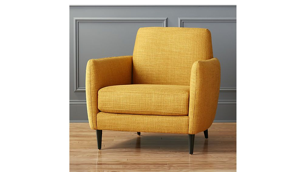 Cb2 parlour chair living room chairs yellow accent