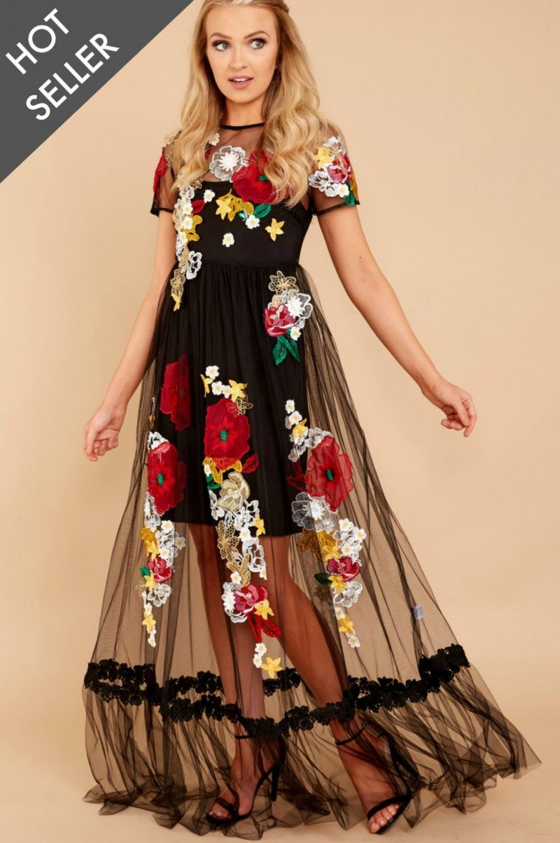 art of color black multi embroidered maxi dress at
