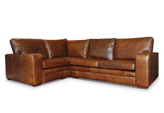 Vintage Corner Model Lush Leather Sofa By