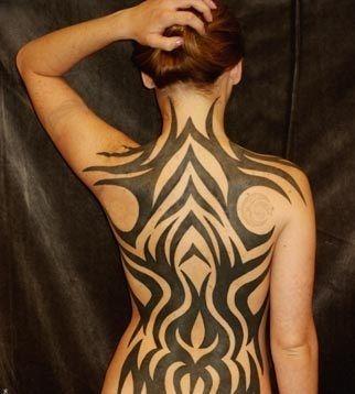 Black Tribal Design Tattoo On Women Full Back Tribal Back Tattoos Back Tattoo Tribal Tattoos For Women