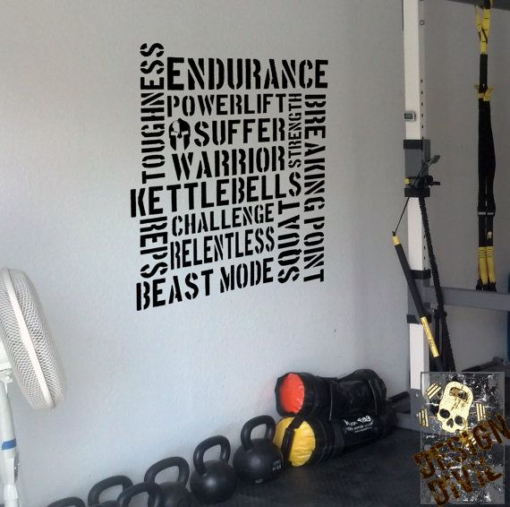 Pro kettlebell endurance wall fitness decal quote gym kettlebell