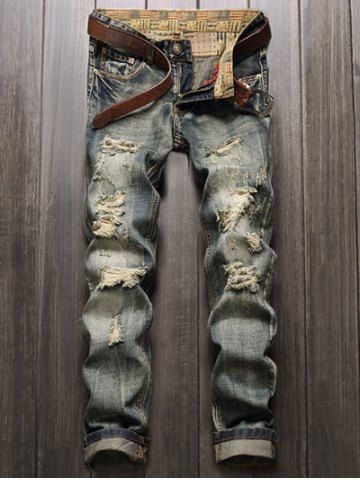 Men's Clothing Frank 2017 New Mens Jeans Frayed Zipper Straight Leg Ripped Jeans Fashion Fly Five-pocket Slim Fit Biker Pants Trousers Hot Sale