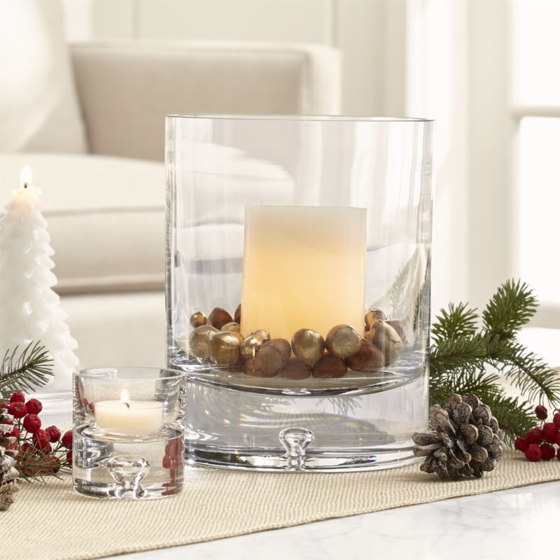 Direction Glass Candle Holders | Crate and Barrel | Rustic winter decor,  Candle holders, Winter decor