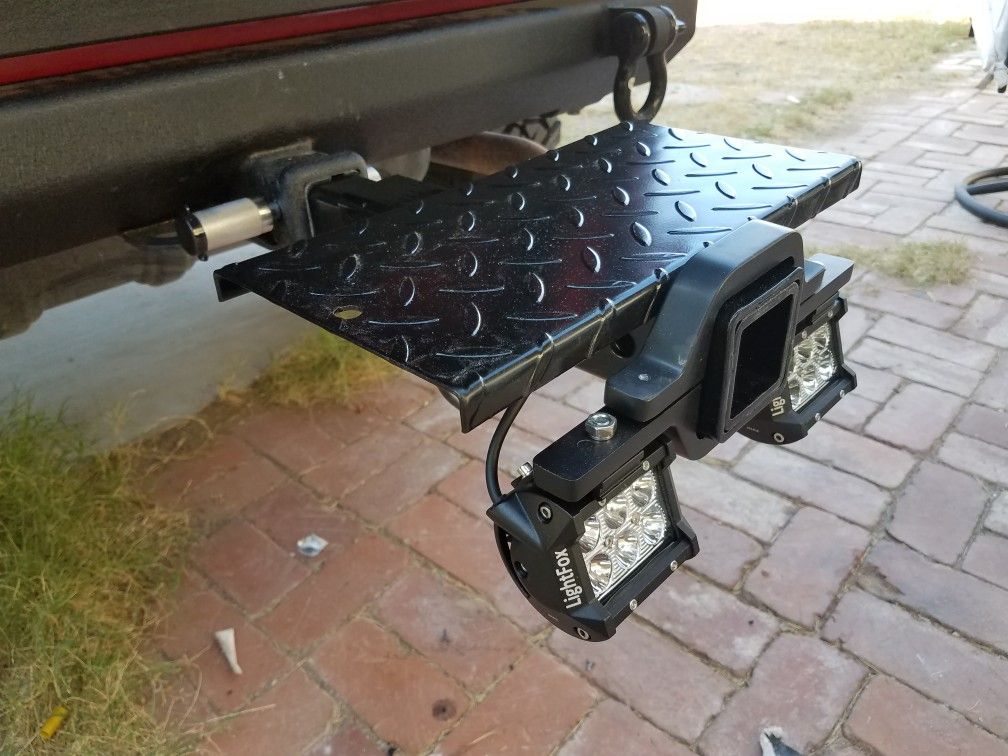 Harbor Freight hitch step extension, lights, and bracket