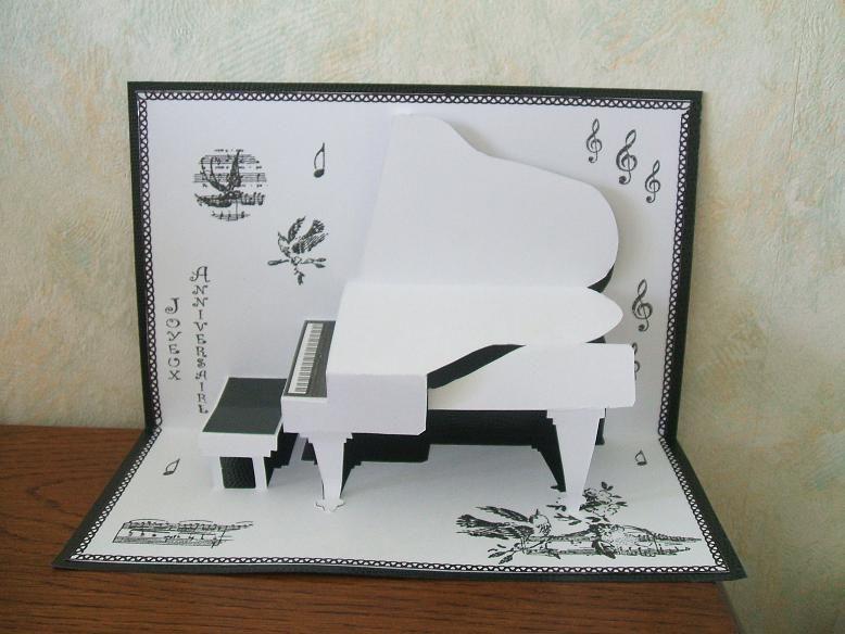 открытка пианино раскладная уже