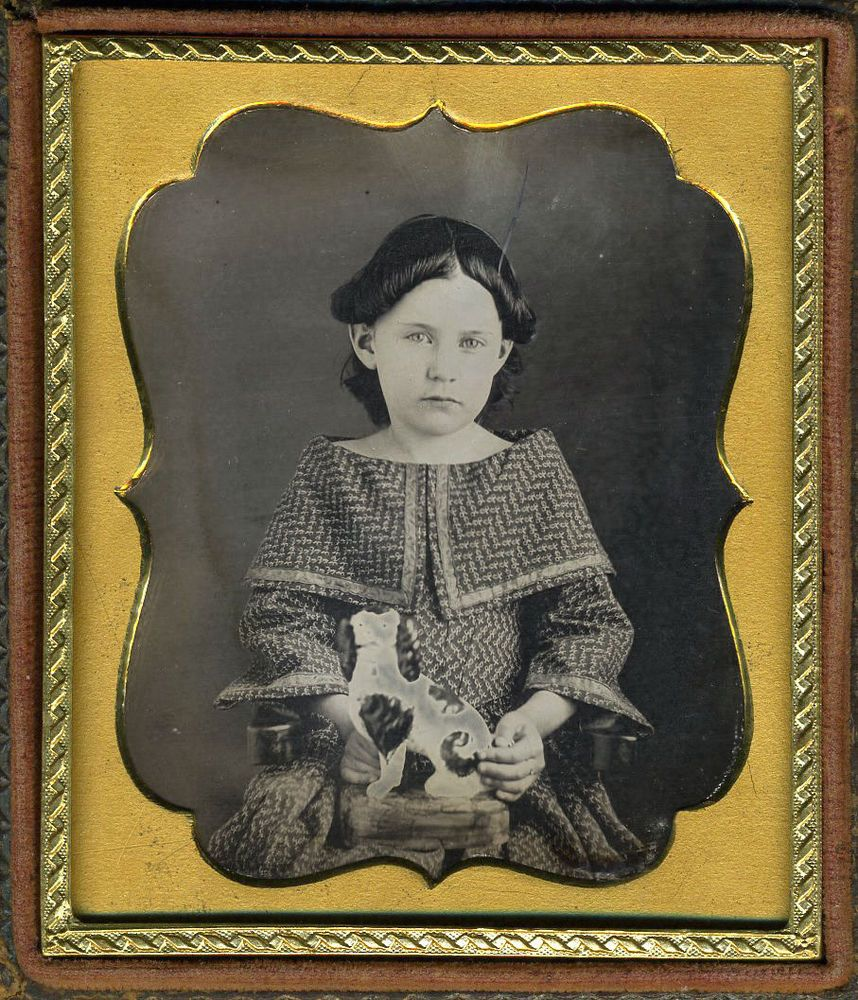 GIRL & STAFFORDSHIRE DOG DAGUERREOTYPE DAG #2