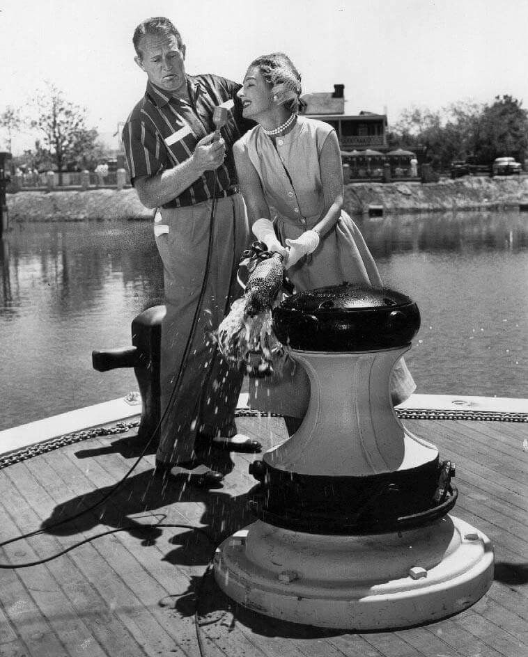 Irene Dunne christened the Mark Twain Riverboat Stern at Disneyland... July 1955