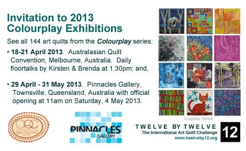 Catch Colourplay at the Australasian Quilt Convention (18-21 April) and at Pinnacles Gallery Townsville (29 April - 31 May).