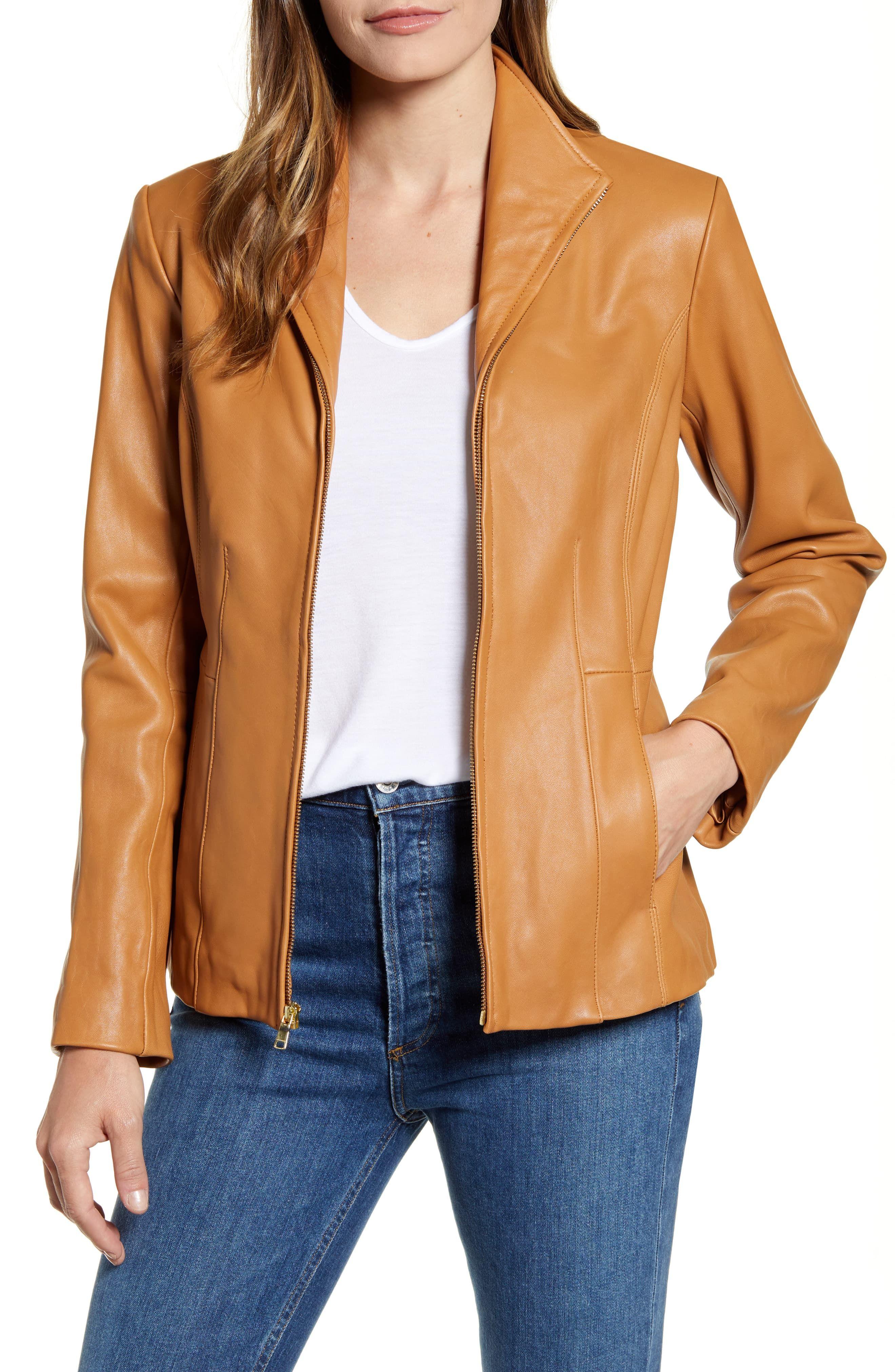 Women's Cole Haan Lambskin Leather Jacket, Size Medium