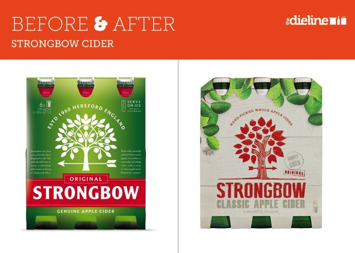 12_03_13_BeforeandAfter_strongbow. I consider this a lateral shift in design, not an improvement. I actually prefer the old design because the hierarchy of design order is better. Where does your eye go when viewing the old design? Right to the brand name. Now look to the new design…the eye moves all over the tree, then you read the brand name.