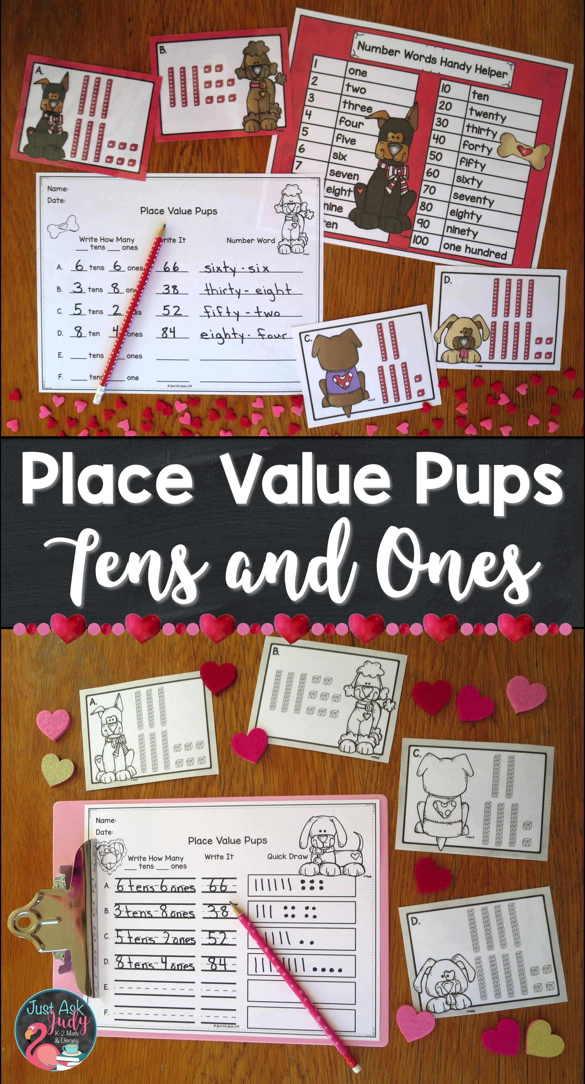 Place Value Pups Tens And Ones Valentine S Day Activity