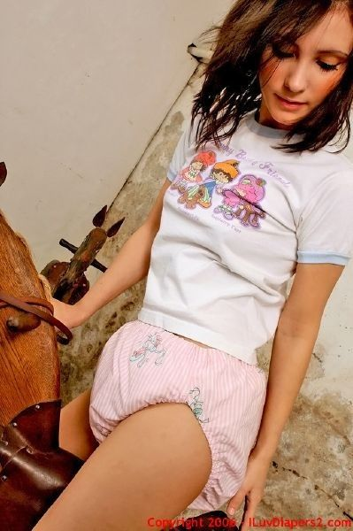 Rock Horse Adult Baby Girl Wearing A Diaper Abdl My