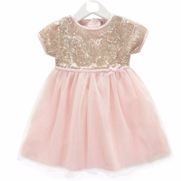 "The ""Emma"" Pink and Gold Sequin Infant Toddler Dress"