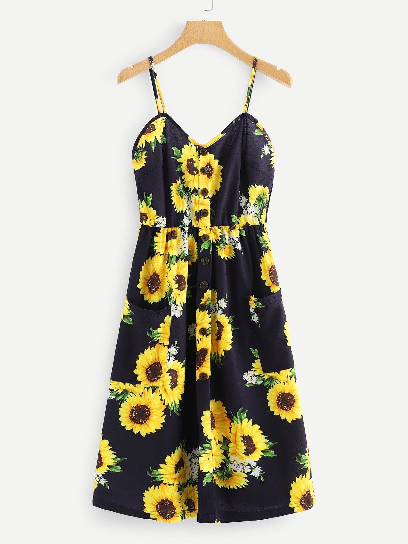 12ad4954794 Sunflower Print Single Breasted Cami DressFor Women-romwe