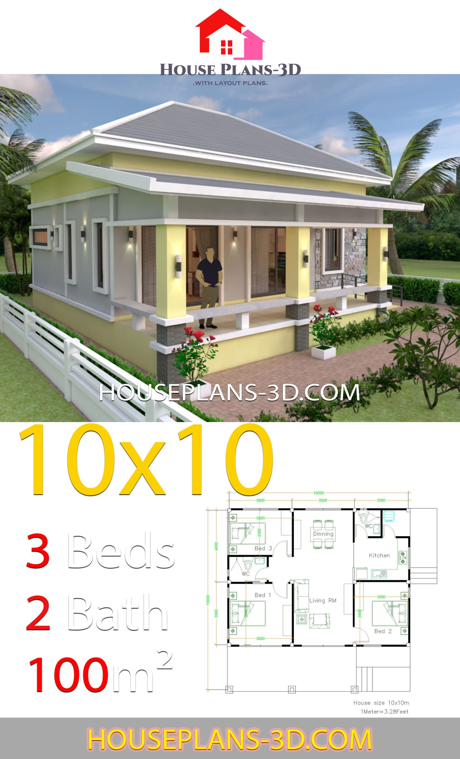 House Design 10x10 With 3 Bedrooms Hip Roof House Plans 3d House Plans Small House Design Plans House Roof