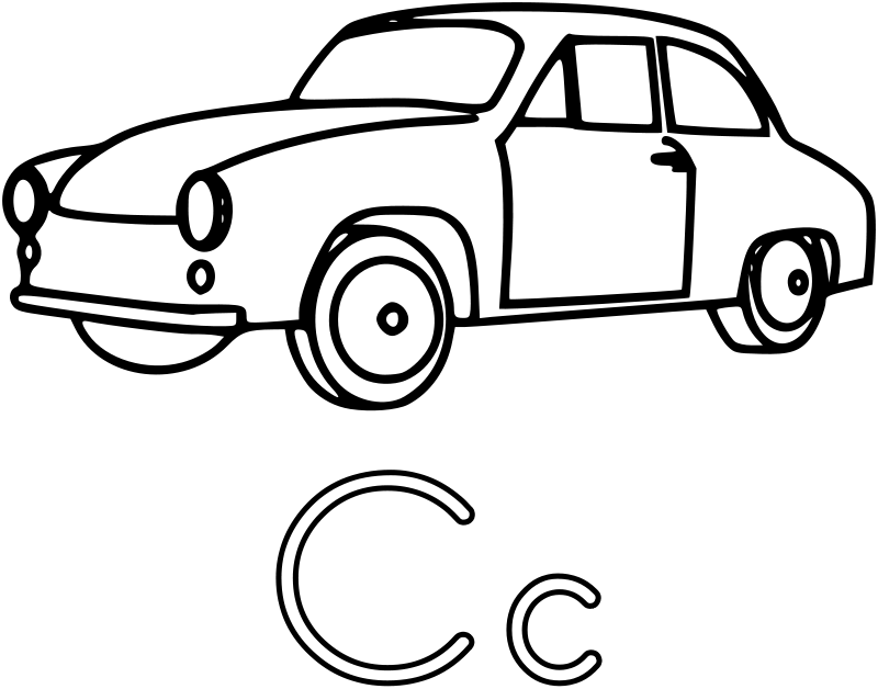 Easy Car Coloring Pages 8211 Letter C Cars Coloring Pages Coloring Pages Kindergarten Worksheets