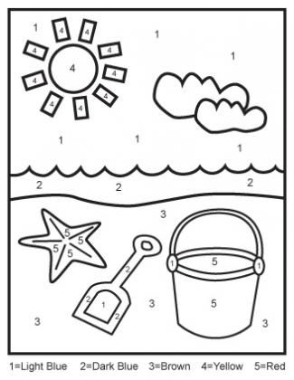 color by numbers printables for kids beach fun preschool colors numbers for kids preschool. Black Bedroom Furniture Sets. Home Design Ideas