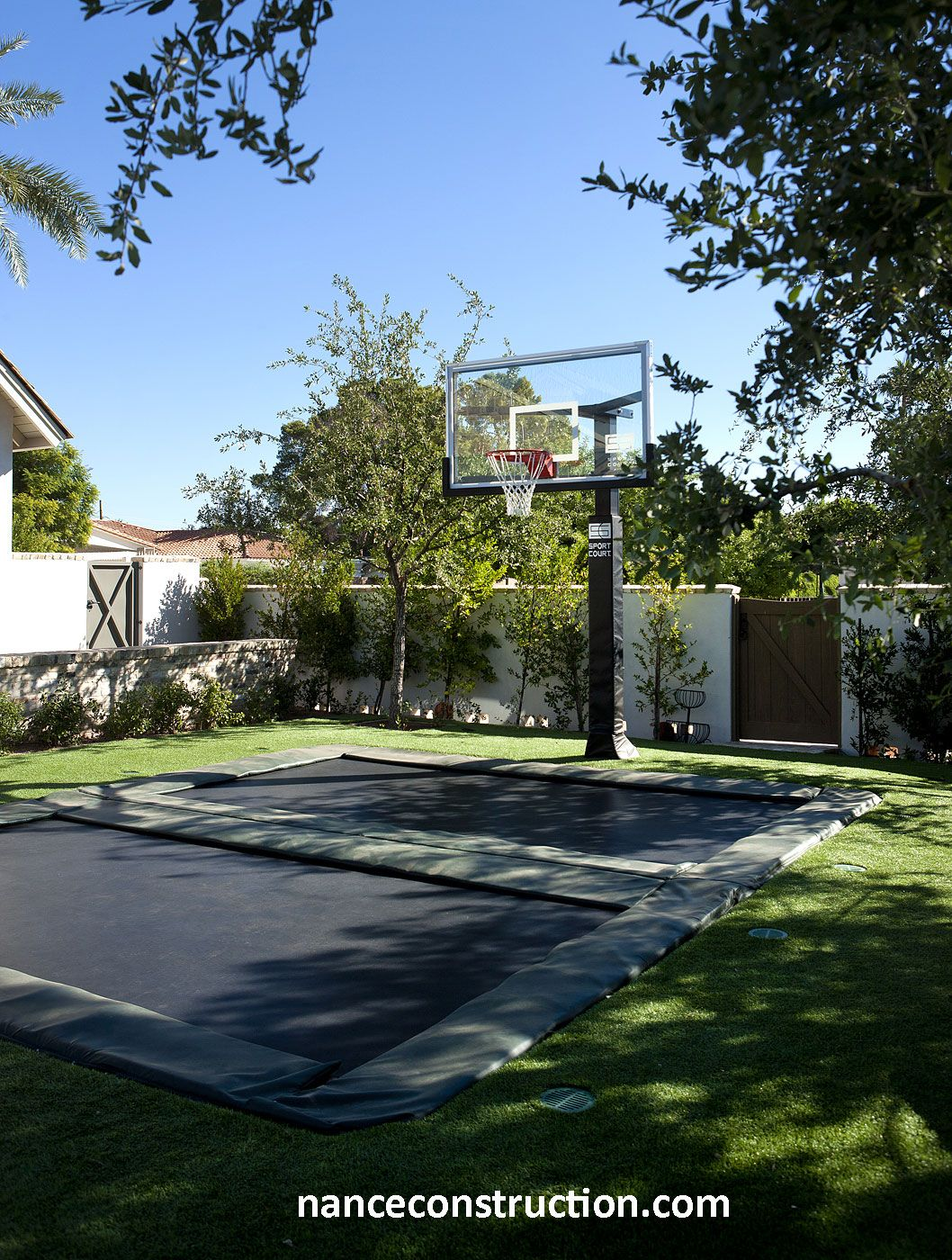 trampoline and basketball hoop outdoor living by nance