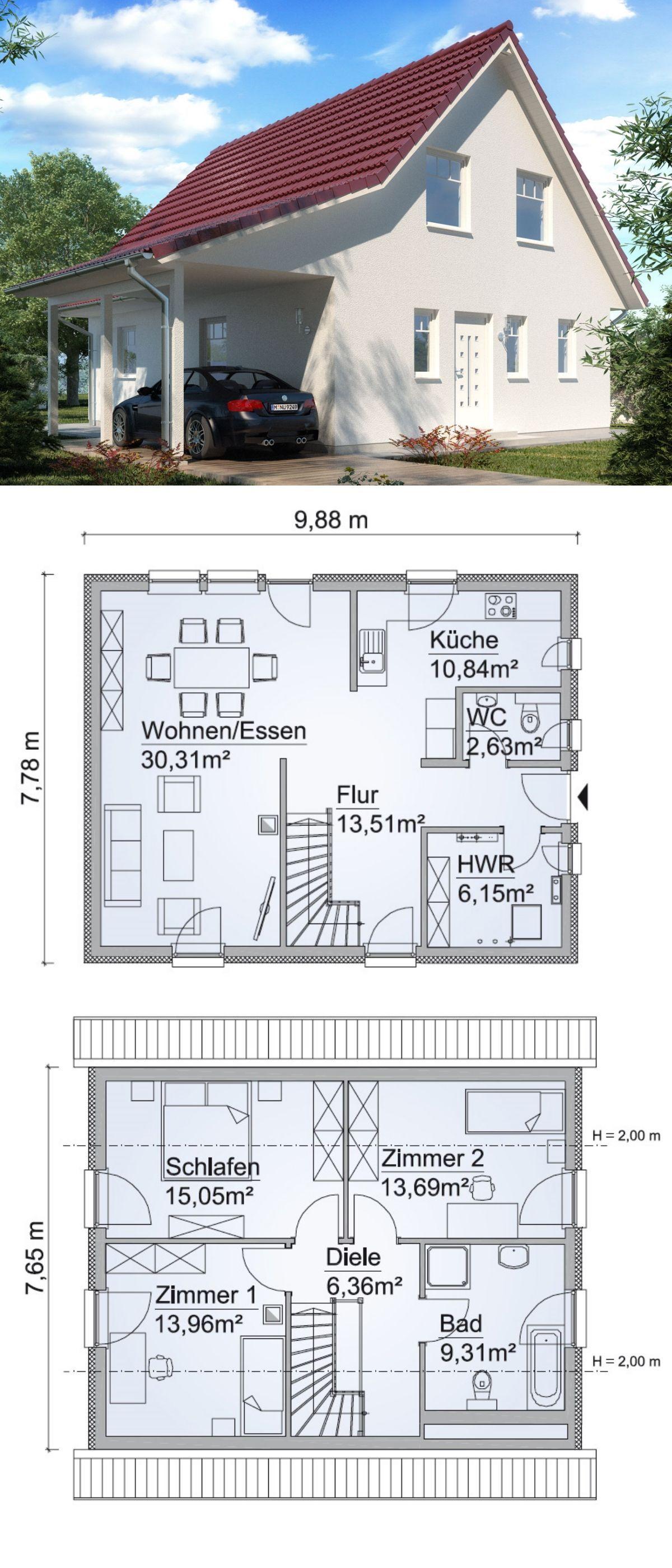 Satteldach Haus Neubau Modern U0026amp; Grundriss Mit Seiteneingang    Einfamilienhaus Bauen Ideen Fertighaus SH 122
