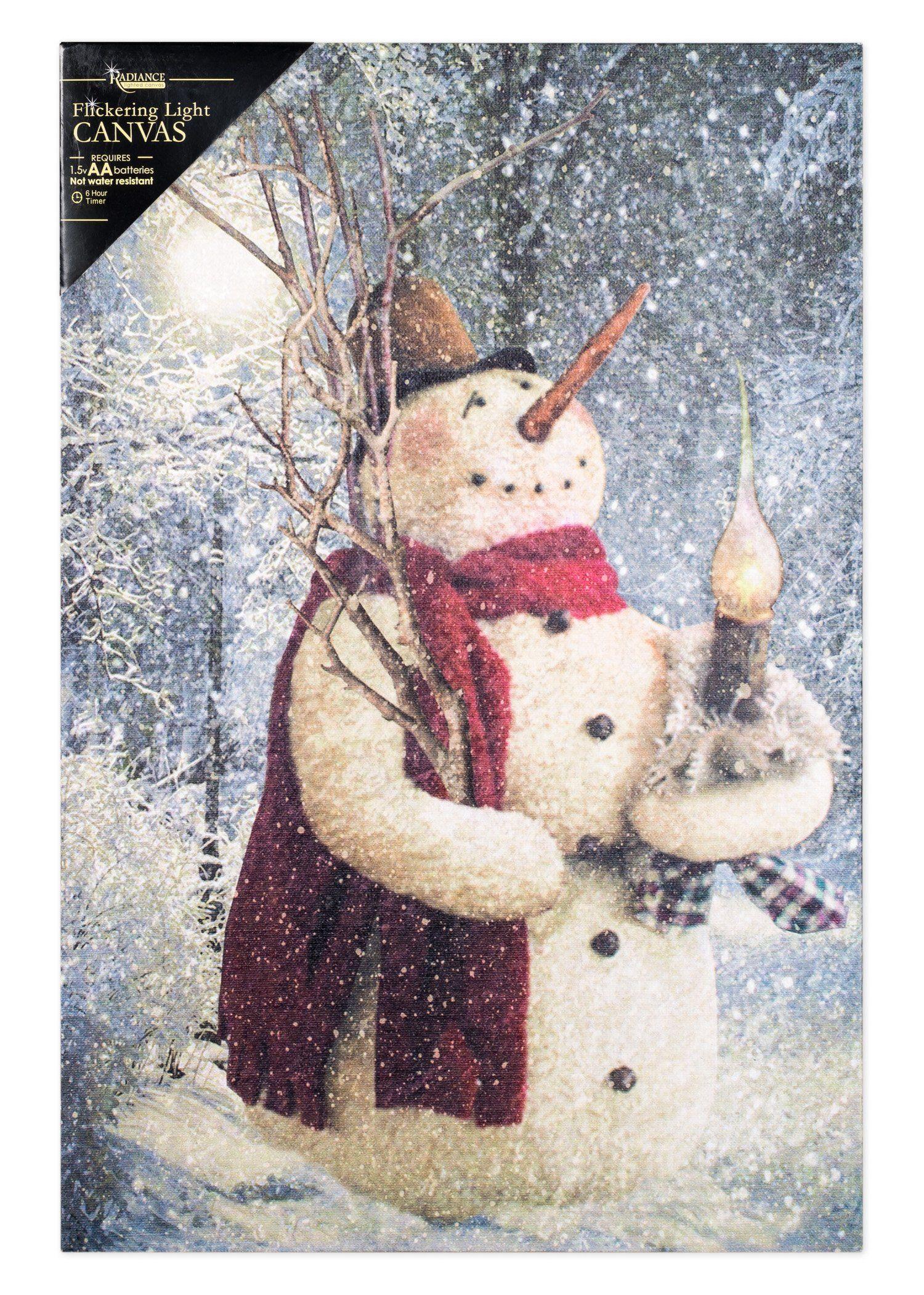 "Ohio Wholesale Woodland Snowman Lighted Canvas 16.625"" x 11"""