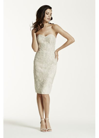 Short Strapless Lace Dress with Beaded Appliques SWG684 $599