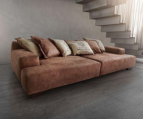 Big Sofa Cabana 304x140 cm Braun Vintage Look by Ultsch Wohndeko - big sofa oder wohnlandschaft