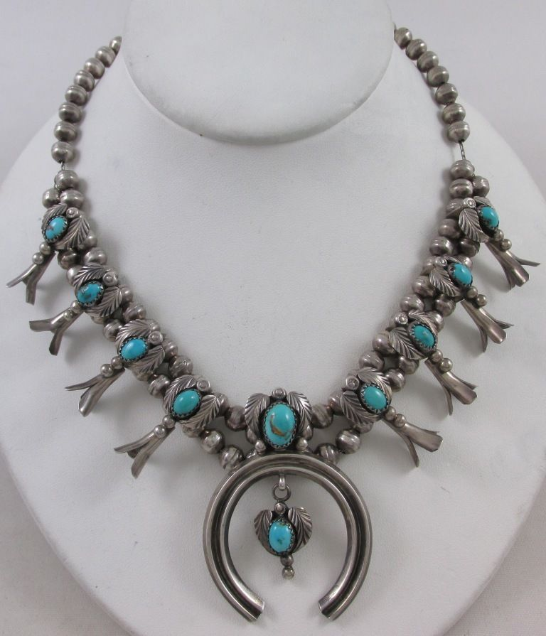 KENNY GUERRO NAVAJO STERLING SILVER & TURQUOISE CHILD'S SQUASH BLOSSOM NECKLACE #KennyGuerro