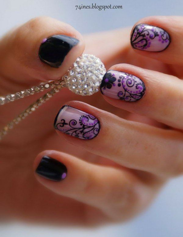 Black and Purple Flower Nail Art. - Black And Purple Flower Nail Art. !♥ Nail Designs Gallery