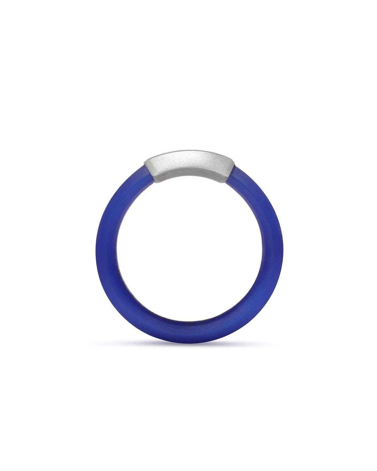 David Yurman Mens Hex Band Ring in Blue Rubber & Sterling Silver nTWyk
