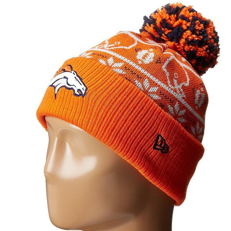 premium selection 7bbaa d3f20 Mens   Womens Denver Broncos New Era 2016 NFL Fashion Trend Sweater Chill  Cuffed Knit Pom Beanie Hat - Orange